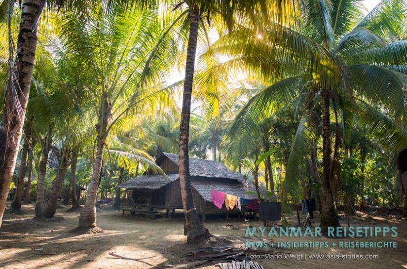 Myanmar Reisetipps   Typisches Haus im Hinterland vom Ngapali Beach