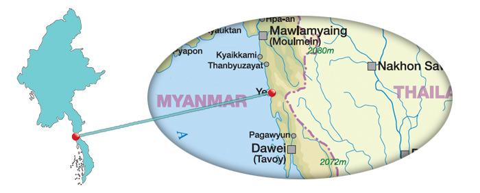 Myanmar - Karte von der Stadt Ye