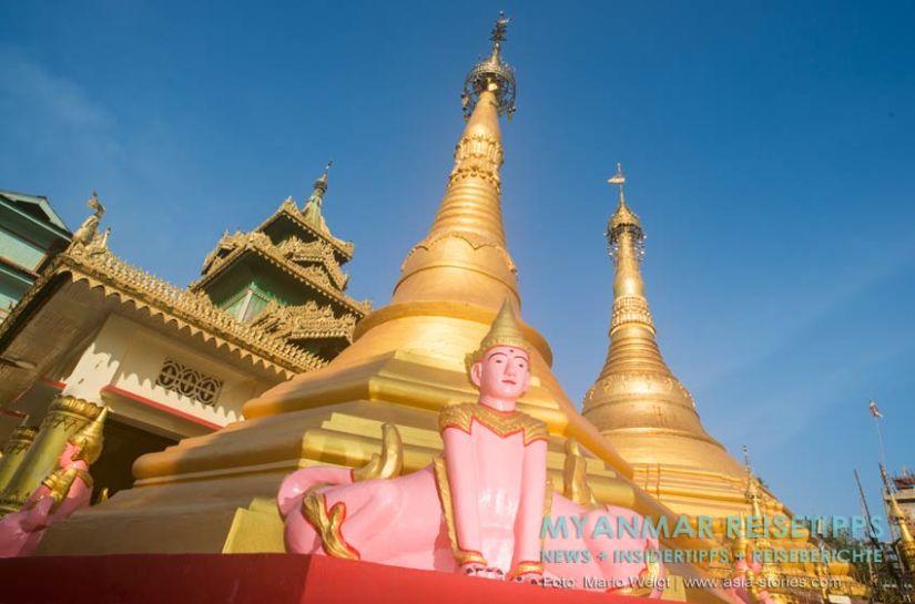 Myanmar Reisetipps | Diese eigenwilligen Figuren sitzen in der Shwesandaw Pagode.
