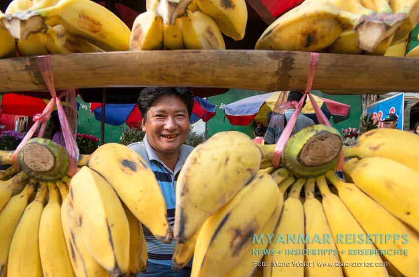 Myanmar Reisetipps | Vegetarischen Essen | Bananen gibt es an jeder Ecke in Myanmar