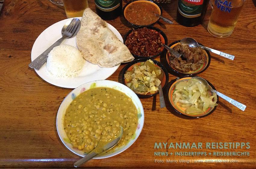 Myanmar Reisetipps | Vegetarischen Essen | Kartoffel- und Gemüsecurry und Dal Bhat