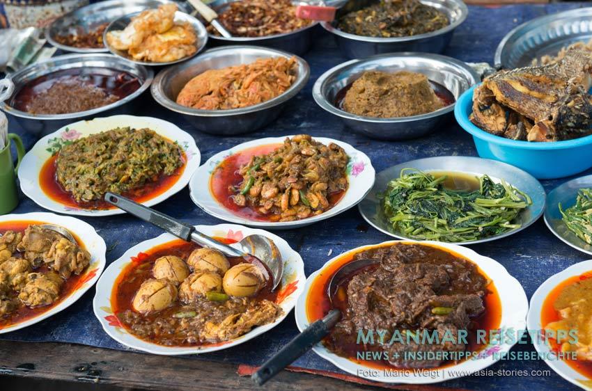 Myanmar Reisetipps | Vegetarischen Essen | Burmesische Curry (vegetarische und fleischhaltige Gerichte)