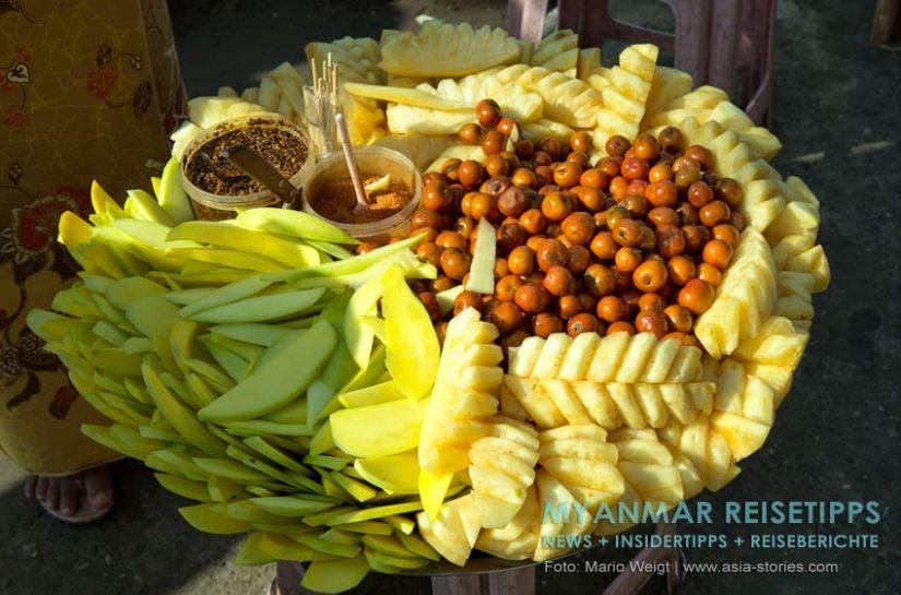 Myanmar Reisetipps | Vegetarischen Essen | Fruchtiger Snack mit grüner Mango und Annanas