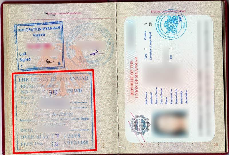 Overstay in Myanmar: Der mit Rot umrandete Stempel besagt, dass wir sieben Tage überzogen haben und 21 USD bezahlen mussten.