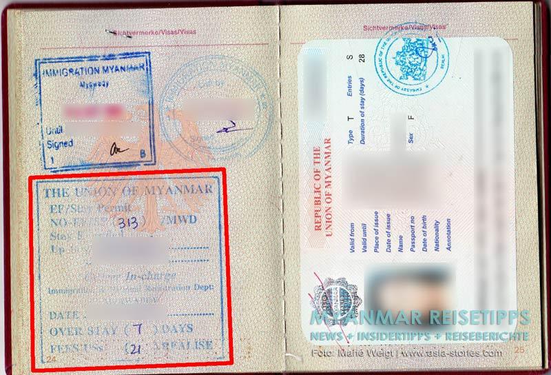 Myanmar - Gebühren für Overstay