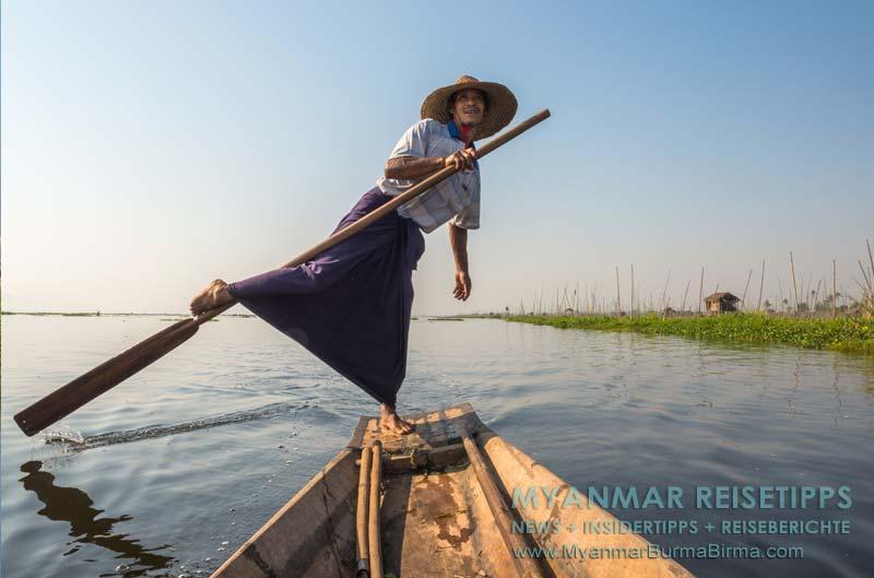Myanmar Reisetipps | Inle-See und Indein | Einbeinruderer auf dem See.
