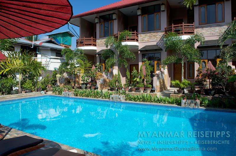 Myanmar Reisetipps | Inle-See und Indein | Hotel mit Pool Mingalar Inn in Nyaungshwe