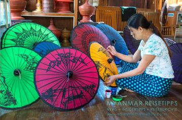 Myanmar Reisetipps | Inle-See und Indein | Der Hnin Thitsar Umbrella Workshop hat vor 16 Jahren mit der traditionellen Herstellung von Schirmen aus Bambus, Holz und Papier begonnen.