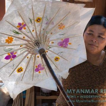 Myanmar Reisetipps | Inle-See und Indein | Im Hnin Thitsar Umbrella Workshop werden überwiegend Schirme aus Bambus, Holz und Papier hergestellt.