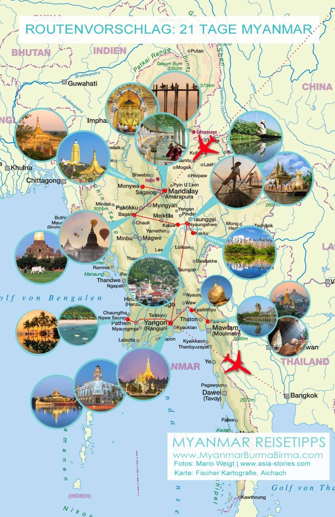 Karte mit Fotos für den Routenvorschlag: 21 Tage (3 Wochen) Myanmar von Mandalay nach Yangon