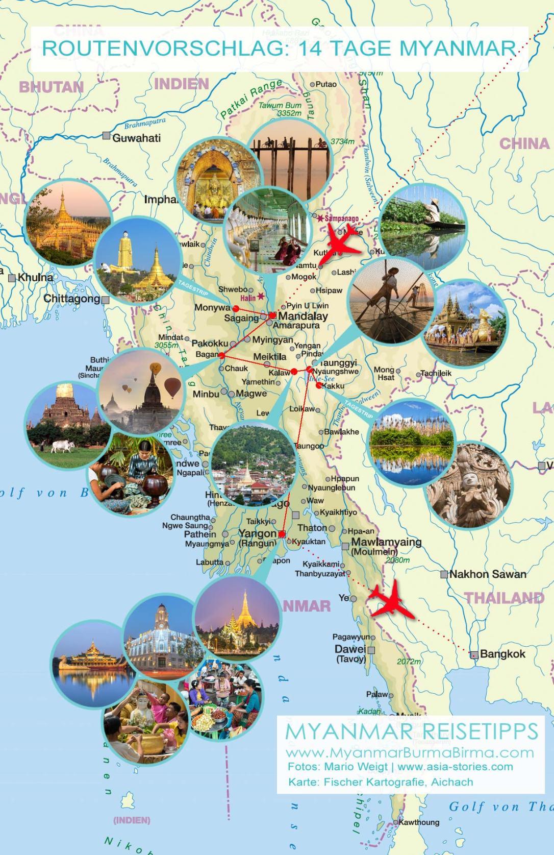 Karte mit Fotos für den Routenvorschlag: 14 Tage Myanmar von Mandalay nach Yangon