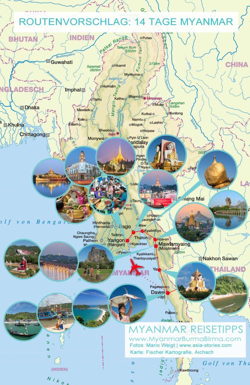 Karte mit Fotos für den Routenvorschlag: 14 Tage Myanmar von Yangon nach Dawei