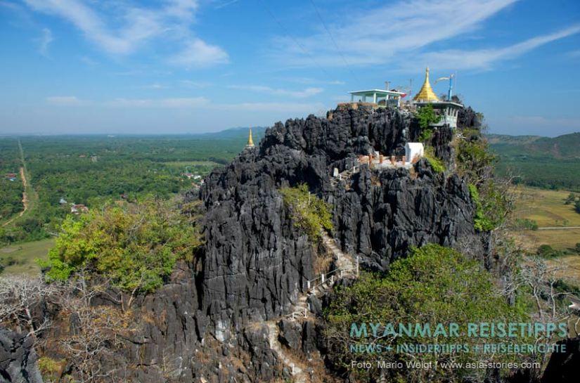 Myanmar Reisetipps   Mawlamyaing (Mawlamyine)   Heiliger Berg Kyauk Ta Lon Taung nahe Mudon