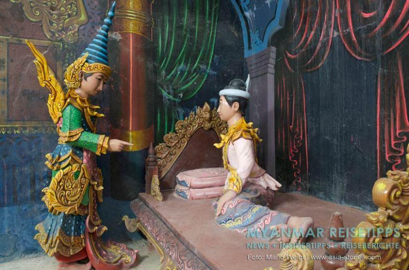 Myanmar Reisetipps   Mawlamyaing (Mawlamyine)   Plastische Darstellungen im liegenden Buddha Win Sein Taw Ya