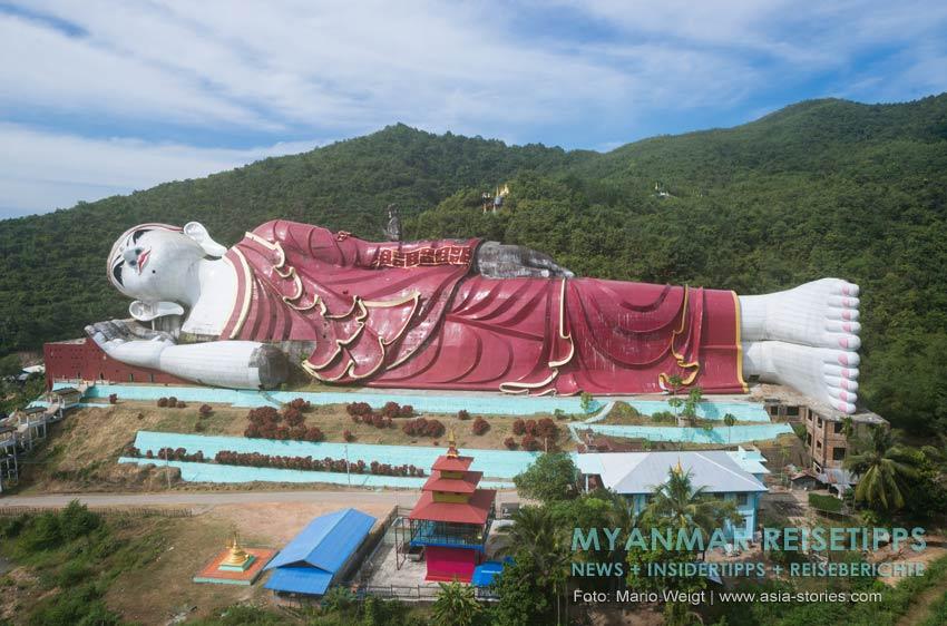Myanmar Reisetipps | Mawlamyaing (Mawlamyine) | Liegender Buddha bei Mudon