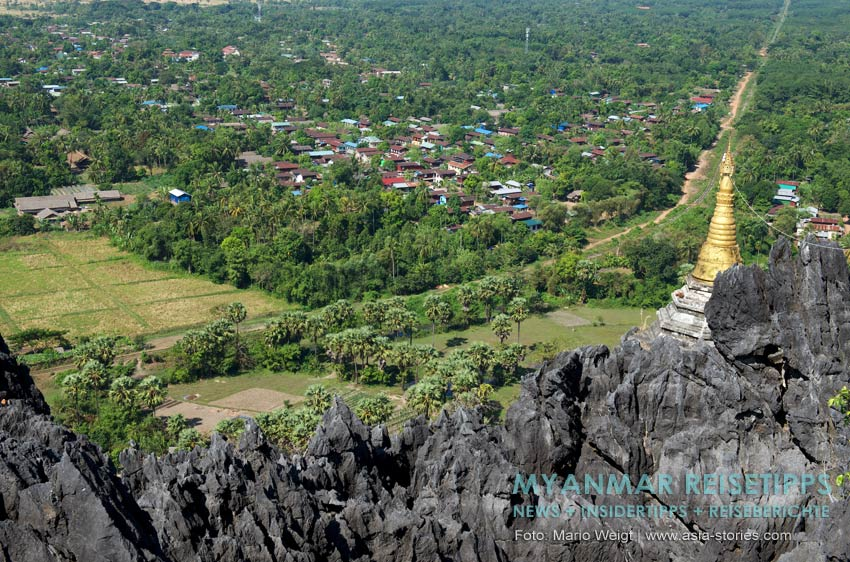 Myanmar Reisetipps | Mawlamyaing (Mawlamyine) | Aussicht vom heiligen Berg Kyauk Ta Lon Taung nahe Mudon