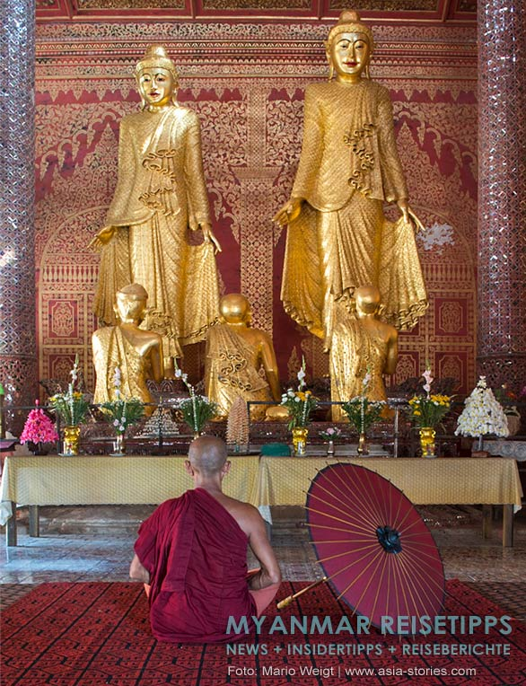 Myanmar Reisetipps   Mawlamyaing (Mawlamyine)   Meditierender Mönch im Holzkloster U Nar Aunk