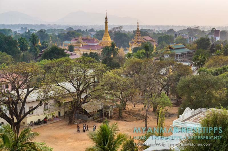 Myanmar Reisetipps | Monywa | Blick von der Dachterrasse vom Hotel Chindwin
