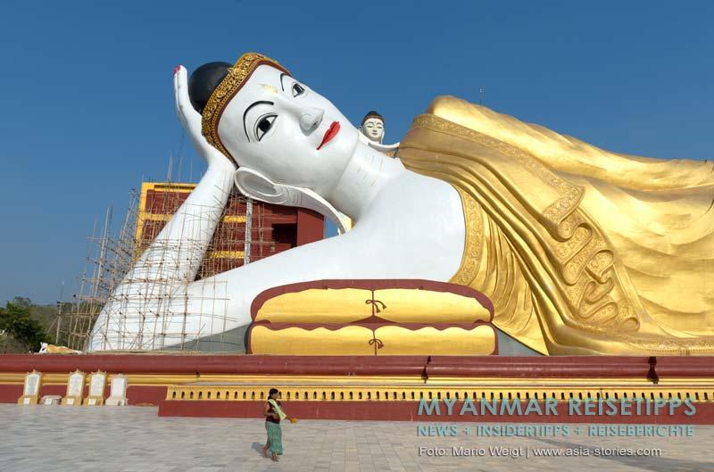 Myanmar Reisetipps | bei Monywa | Liegender Buddha am Po Khaung Hügel