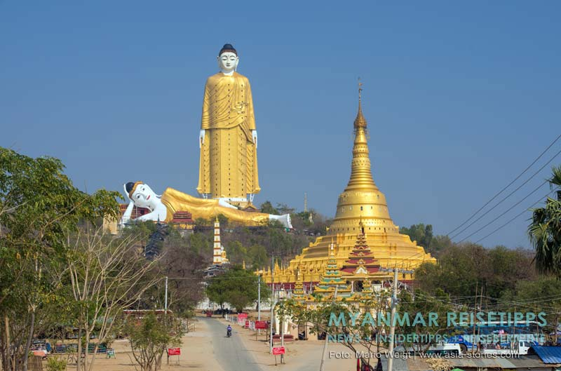 Myanmar Reisetipps | nahe Monywa | Po Khaung Hügel mit der 114 Meter hohen Buddha-Statue Lay Kyun Sat Kyar und dem 90 Meter langen liegenden Buddha