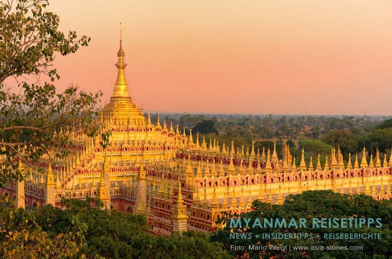 Myanmar Reisetipps | bei Monywa | Die 40 Meter hohe Thanboddhay-Pagode im Abendlicht