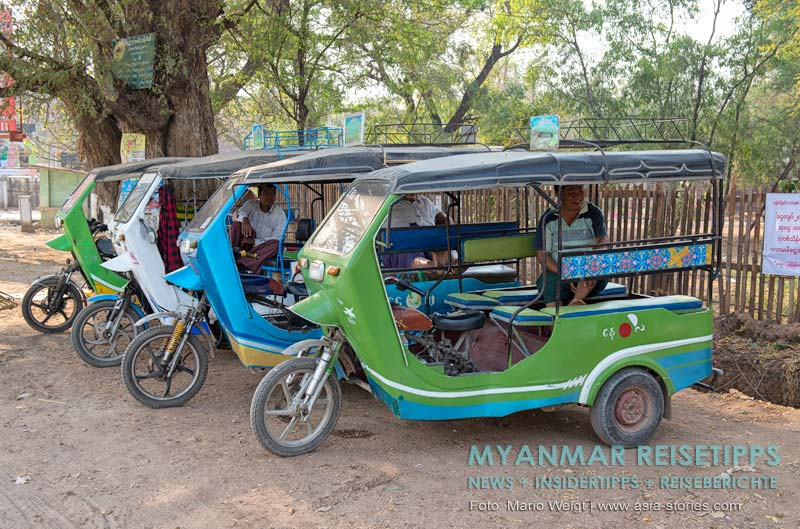 Myanmar Reisetipps | Monywa | Tuk-Tuk-Fahrer warten auf Kunden