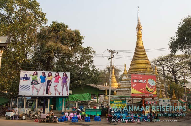 Myanmar Reisetipps | Monywa | Pagode und Werbeplakate