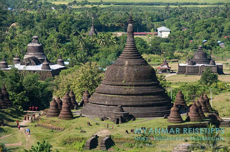 Myanmar Reisetipps | Mrauk U | Aussicht vom Discovery View Point auf die Tempel