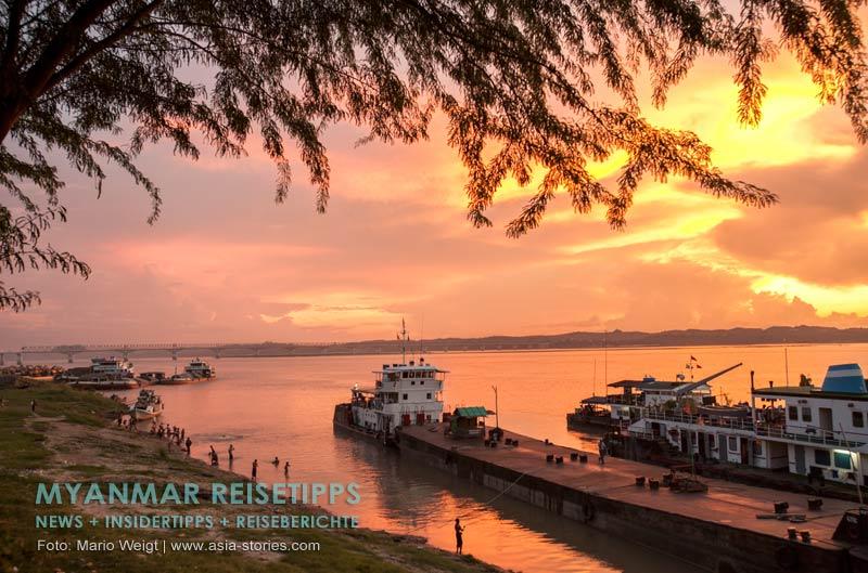 Myanmar Reisetipps | Magwe | Kurz vor Sonnenuntergang am Ufer des Ayeyarwady