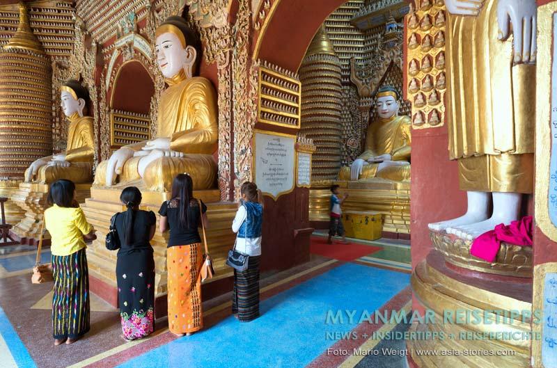 Myanmar Reisetipps | nahe Monywa | Thanboddhay-Pagode im Innern mit den unzähligen Buddha-Statuen