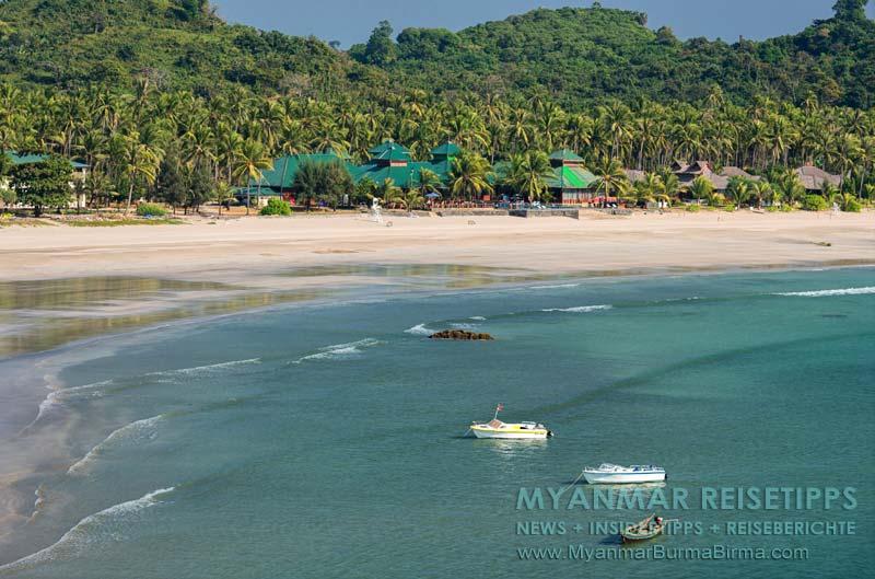 Myanmar Reisetipps   Ngwe Saung Beach (Silberstrand)   Blick von der Liebesinsel auf das Myanmar Treasure Resort