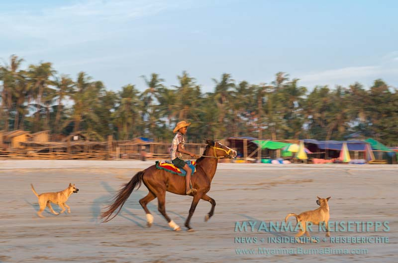 Myanmar Reisetipps | Ngwe Saung Beach (Silberstrand) | Bei Burmesen sehr beliebt: Reiten am Strand