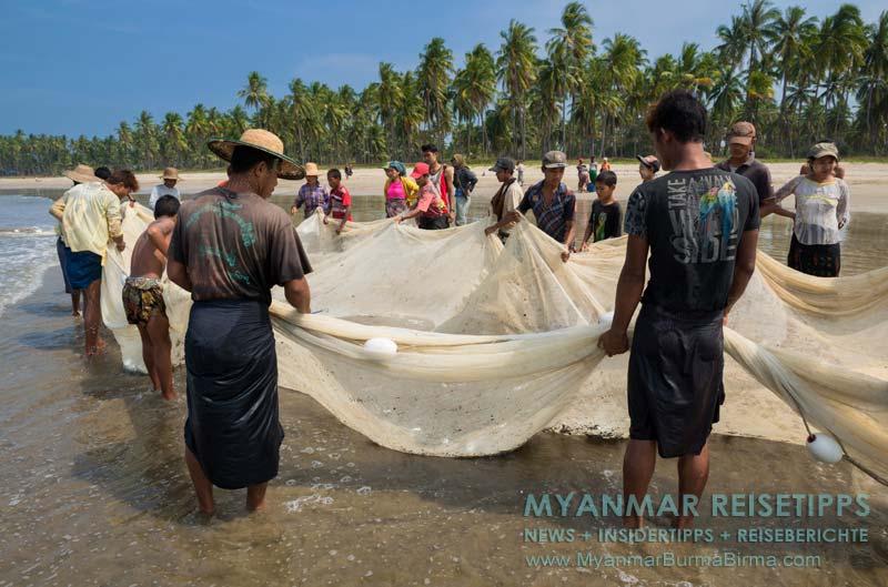 Myanmar Reisetipps   Ngwe Saung Beach (Silberstrand)   Fischer zwischen Ngwe Saung und Sinma