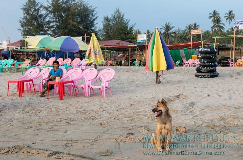 Myanmar Reisetipps   Ngwe Saung Beach (Silberstrand)   Strandrestaurants und Verleih von LKW-Schläuchen