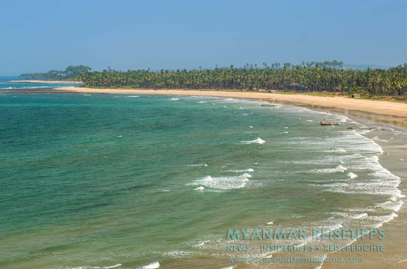 Myanmar Reisetipps   Ngwe Saung Beach (Silberstrand)   Kilometerlange Palmenstrände auf dem Weg nach Sinma