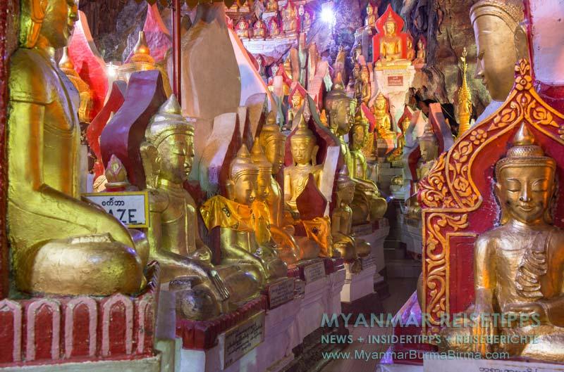 Myanmar Reisetipps   Pindaya und die Höhlen   Goldene Buddha-Statuen sind in jeder Ecke der Höhle zu finden