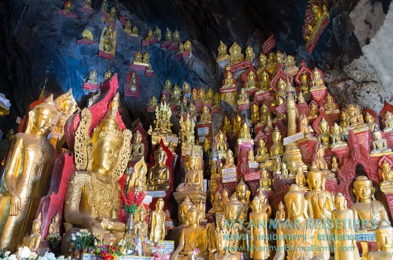 Myanmar Reisetipps | Pindaya und die Höhlen | Goldene Buddha-Statuen sind in jeder Ecke der Höhle zu finden