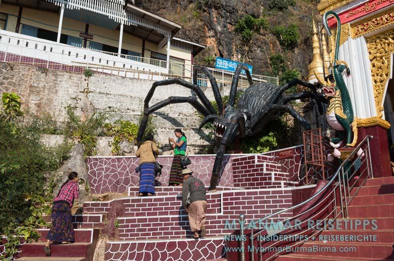 Myanmar Reisetipps | Pindaya und die Höhlen | Riesenspinne am Eingang zur Höhle