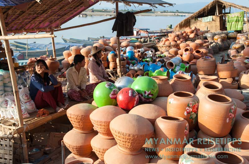 Myanmar Reisetipps | Bhamo | Tonkrüge zum Verkauf am Ayeyarwady-Fluss