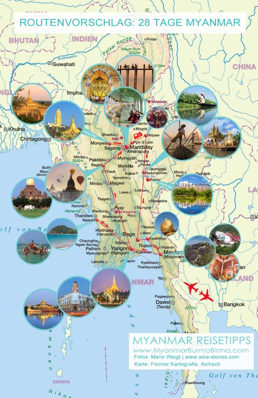 Karte mit Fotos für den Routenvorschlag: 4 Wochen in Myanmar