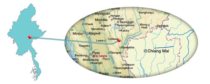 Myanmar - Karte vom Loikaw