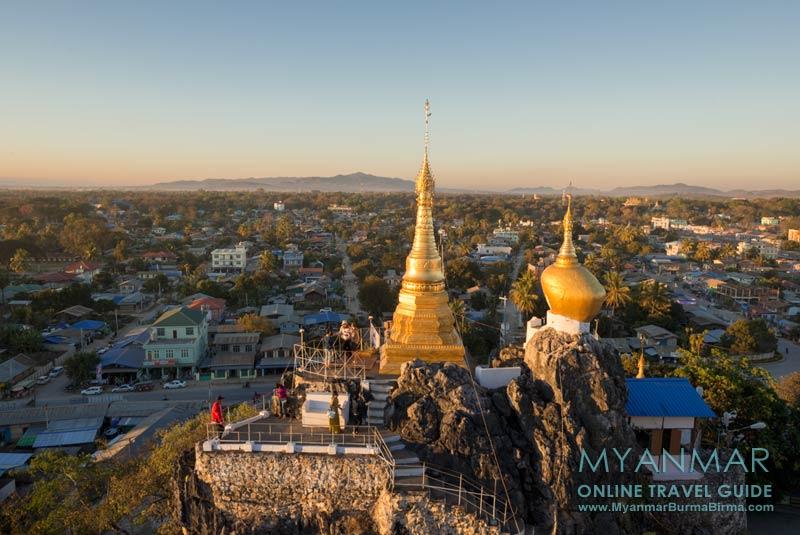 Myanmar Reisetipps   Loikaw   Blick von der Taung-Kwe-Pagode kurz vor Sonnenuntergang