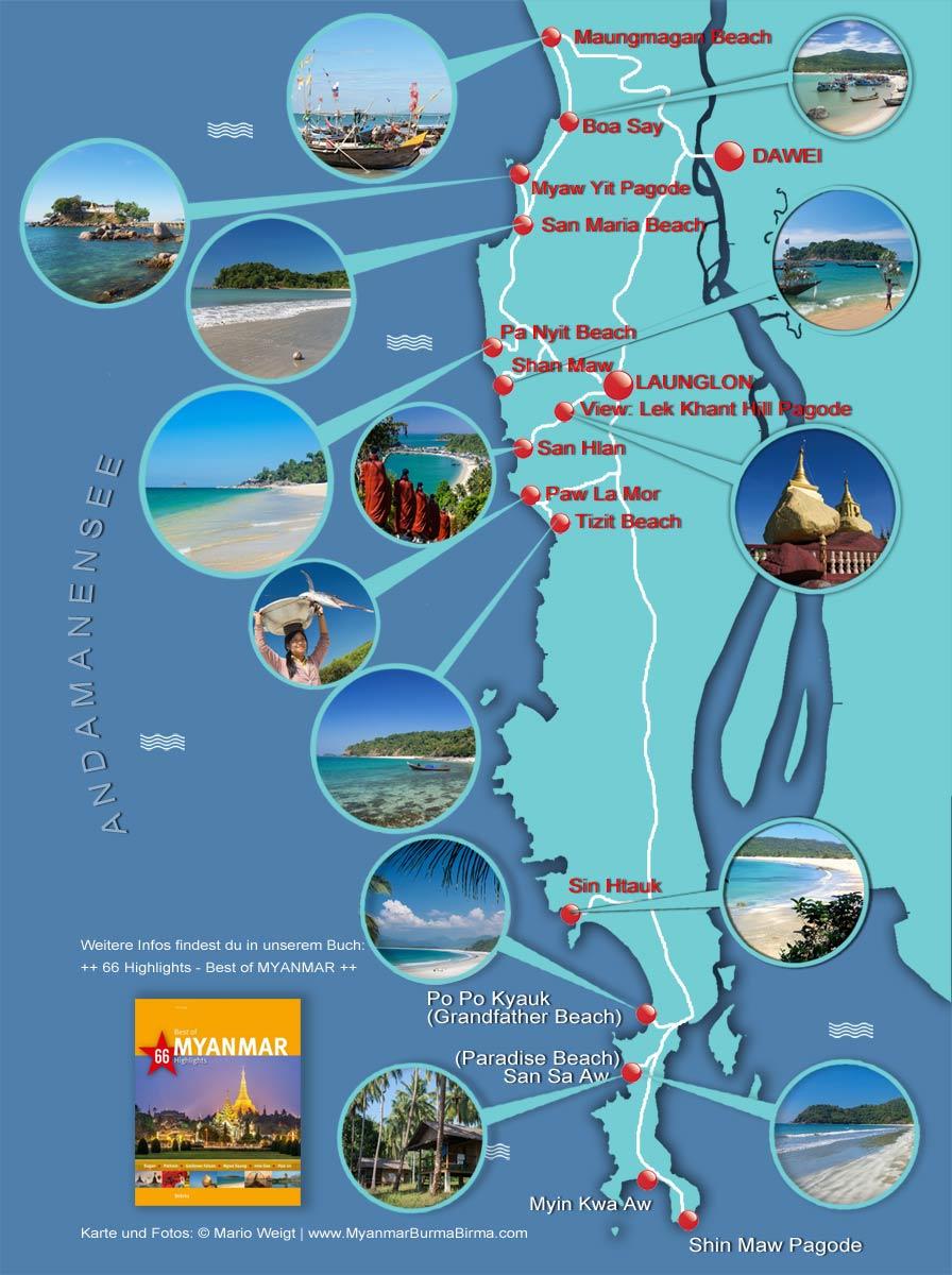 Myanmar - Dawei Peninsula | Karte von den Stränden und Fischerdörfern