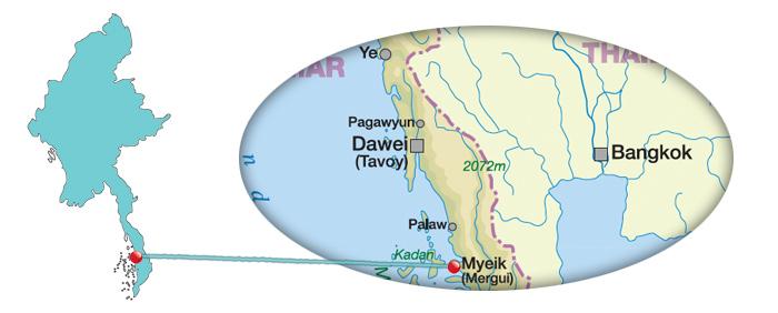 Myanmar - Karte von Myeik