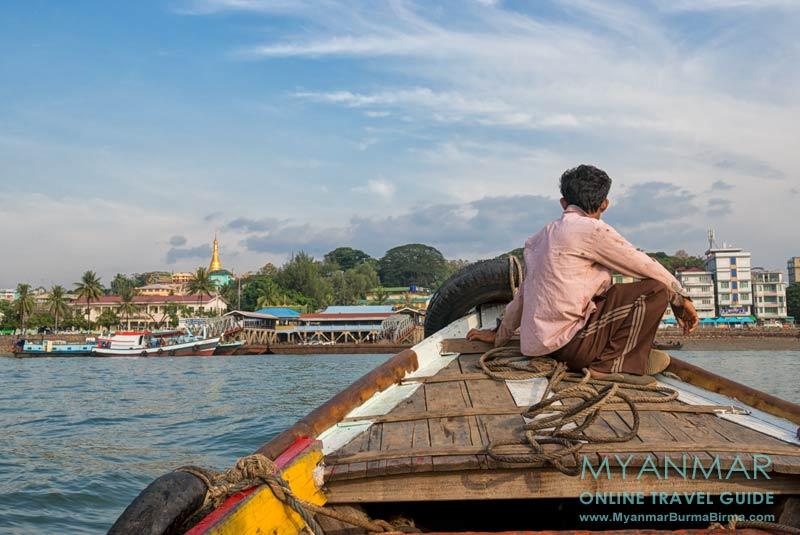 Myanmar Reisetipps | Myeik | Die Stadt vom Fluß aus gesehen.