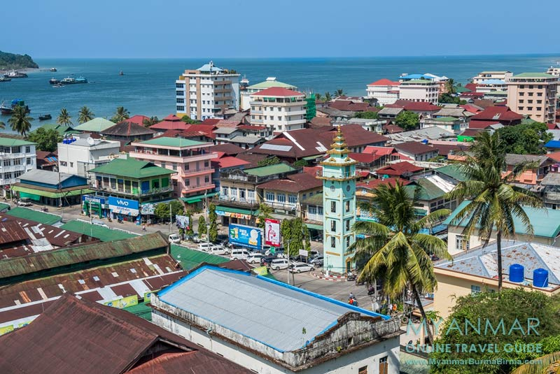 Myanmar Reisetipps | Myeik | Blick von der Theindawgyi-Pagode auf die Stadt
