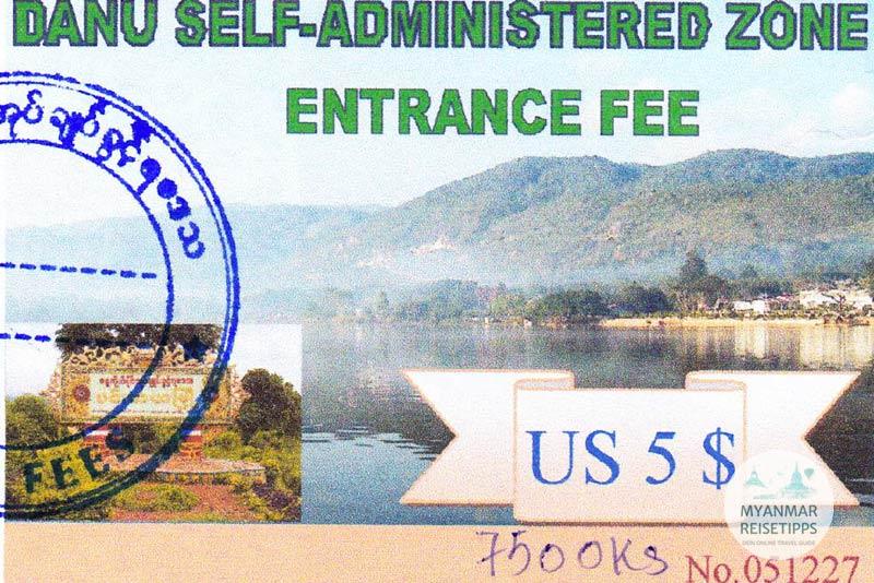 Myanmar Reisetipps | Pindaya | Ticket für die Danu Self-Administered Zone