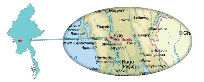 Myanmar - Karte für Pyay