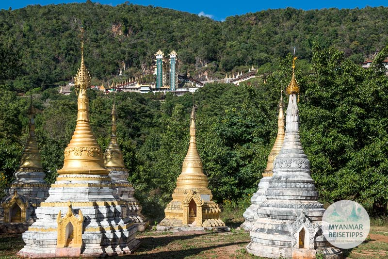 Myanmar Reisetipps | Pindaya | Eingang zur Höhle Shwe U Min mit den verglasten Aufzügen