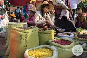 Myanmar Reisetipps   Pindaya   Fünf-Tage-Markt am See